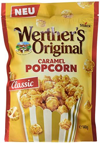Werther's Original Popcorn Caramel – Knackiges Popcorn mit Sahne-Karamell-Überzug 74% – Der süße Snack für zwischendurch – (12 x 140g)