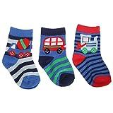 Universaltextilien Baby Jungen Socken mit Fahrzeug Motiv (3er Packung) (15-18 EU) (LKW/Bus/Bagger)