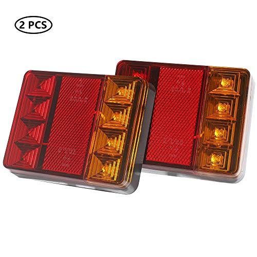 TAEUTO Anhänger Rücklicht LED, 12V Universal Wasserdicht LED Trailer Heckleuchte Bremslicht Kontrollleuchte, Benutzt für Wohnwagen LKW RV Anhänger Rückleuchten Beleuchtung(1 Paar - 8 LED Chips)