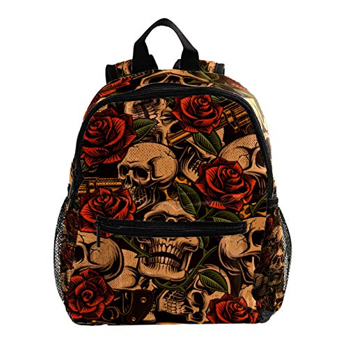 Backpack Skull with Rose Vintage Daypack Casual 3-8 Years Kids and Toddler Backpack 25.4x10x30 cm