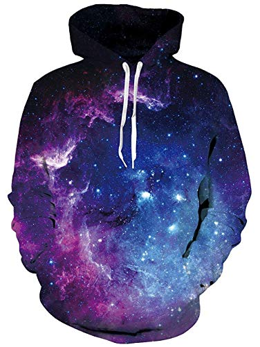 uideazone Uniesx 3D-Druck Hoodies Fleece-Pullover Lustige Kapuzenpullover Sweatshirt für Herren Damen mit Großen Taschen …, Blau-galaxis, L