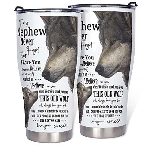 Haythan Botella zu Mein Neffen Taza de aislamiento al vacío – Regalo taza de café con pared duradera para coche blanco 900 ml