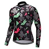 Heart-To-Heart Outdoor Fitness Sports Long Bike Cycling Jersey Bycicle Cycling Clothing Mens Spring and Autumn-Multi-XL