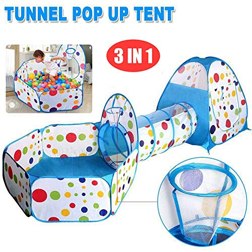 elebaby Portable 3 in 1 Childrens Kids Tent Ball Pit, Baby Play Tent and Tunnel, Play House Tent Tunnel for Kids, Ball Pit Playhouse Pop Up for Indoor Outdoor (3 in 1 Play Tent Only)
