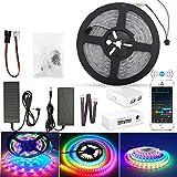 Tira LED WS2811 IC WiFi Dreamcolor, 20 m (4 x 5), resistente al agua, IP65, RGB, 5050, 300 x 4 ledes, sincronización con música, compatible con Alexa, Google Assistant, multicolor