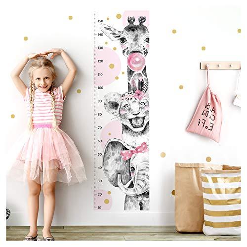 Little Deco Wandtattoo Wandsticker Kinderzimmer Mädchen Messlatte | 150 cm Elefant Löwe Giraffe rosa | Tiere Kinder Aufkleber Wanddeko DL345