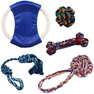 HINNASWA Dog Rope Toy Set for Small to Medium Dogs, Puppy and Pets Aggressive Chewers Dental Cleaning Product 100% Cotton ...