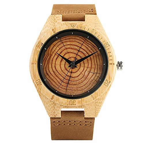 FFHJHJ Relojes de Madera de Cuarzo Hechos a Mano con Estilo de Moda para Hombres y Mujeres Reloj de Pulsera con Cierre de Pulsera de Cuero de Grano de Madera, 2