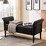 Modern PU Leather Storage Ottoman Bench Tufted Bed Bench for Living Room Bedroom (PU Black)