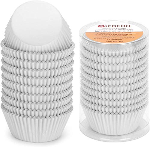 Gifbera White Metallic Foil Cupcake Liners Standard Size Baking Cups, 200-Count