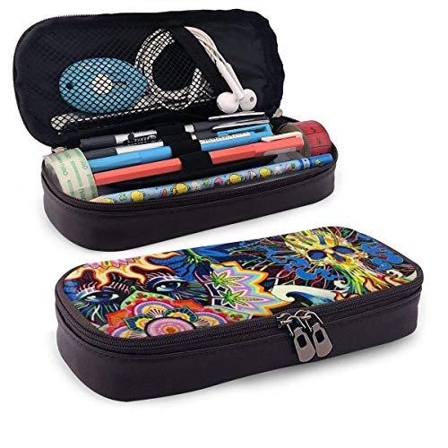 XCNGG Estuche para lápices neceser PU Leather Pencil Case Zipper Stationery Organizer - Art Skull