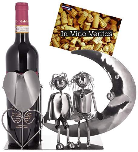 Brubaker - Porta bottiglie di vino con coppia di innamorati sulla luna – Scultura in metallo – Portabottiglie – con biglietto di auguri per regalo di vino