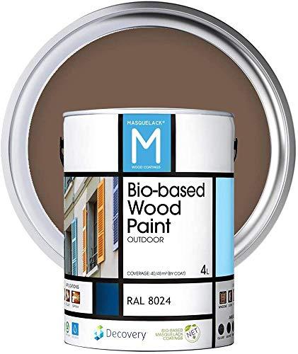 Pintura para Madera | Bio-based Wood Paint RAL 8024 | 4 L | para todo tipo de madera | Pintura madera exterior con un aspecto de acabado semi mate cálido y sedoso | Color Marron