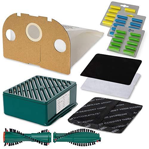 Staubsauger Sparset - 50 teiliges Set inkl. 12 Vlies Staubsaugerbeuteln - Optimal passend für Vorwerk Tiger VT 251/252 - Bestleistung beim Saugen - Hochwertige Qualität