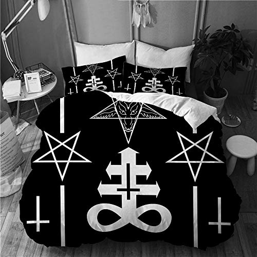 BEITUOLA bedding - Duvet Cover Set,magic, esoteric, mystic, spiritual, occult and witchcraft signs,Microfibre Duvet Cover Set 225 X 225cm with 2 Pillowcase 50 X 75cm
