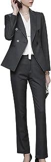 LISUEYNE Women's Two Pieces Blazer Office Lady Suit Set Work Blazer Jacket and Pant