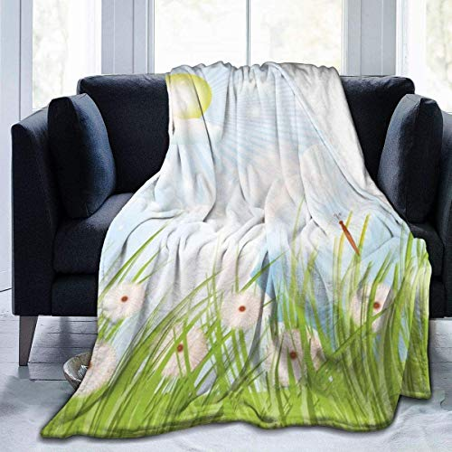 MODORSAN Manta de Tiro de Mariposa de Diente de león, súper Suave y cómoda, Micro 50'x40', Manta de vellón difuso, Manta Decorativa, Manta Ligera y acogedora para sofá Cama