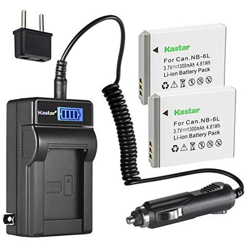 Kastar 2-Pack NB-6LH Battery and LCD AC Charger Compatible with Canon PowerShot SX170 is, PowerShot SX240 HS, PowerShot SX260 HS, PowerShot SX270 HS, PowerShot SX280 HS, PowerShot SX500 is Cameras