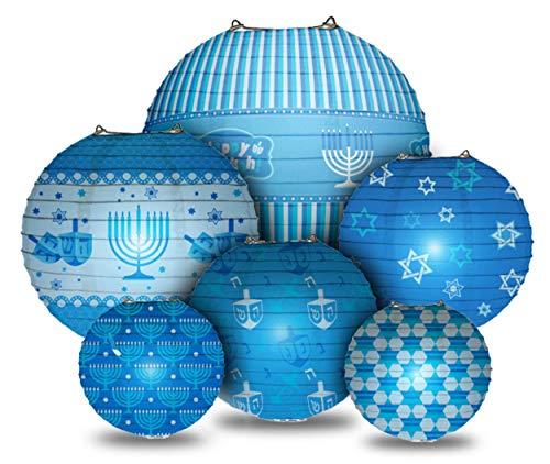 Happy Hanukkah LED Hanging Lanterns Set - Chanukah Lanterns - 6 Blue Ball Paper Lanterns with LED Lights - Hanukkah Décor