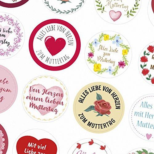 24 moderne Design Etiketten, rund / 24 Etiketten im Mix / Muttertag / Liebe / Herzen / Mama Geschenk / Geschenk-Aufkleber / Sticker / für Firmen