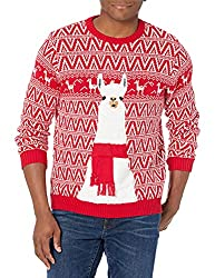 Blizzard Bay men's llama ugly Christmas sweaters in red