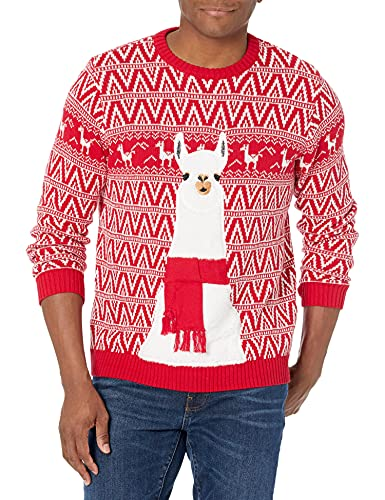 Blizzard Bay Men's Festive Llama Ugly Christmas Sweater, Red/White, Large