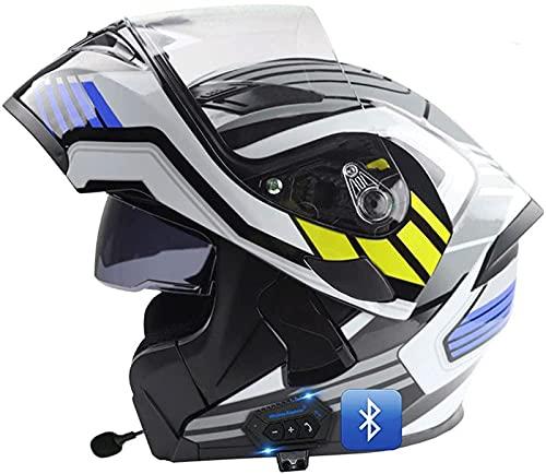 Casco De Motocicleta Modular Integrado Con Bluetooth, Casco Modular Anticolisión, Certificado DOT/ECE, Con Visor Doble, Lente De PC De Alta Definición, Transpirable Y Cómodo, Para Adultos B,XXL