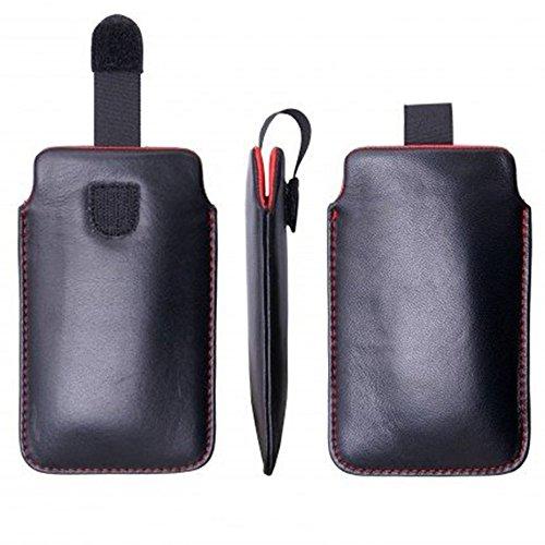 Premium ECHTLEDER hadegemacht für iPhone 6 Plus, 6S Plus, 7 Plus, Hülle, Schutzhülle, Schale, Handytasche, Handyhülle, Leder, Aus echtem Leder, (Schwarz Innen Rot)