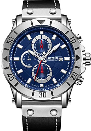 MEGIR Herrenuhr Lederarmband wasserdichte Quarz Date Fashion Chronograph Casual Sports Schwarz/Blau Zifferblatt Uhr