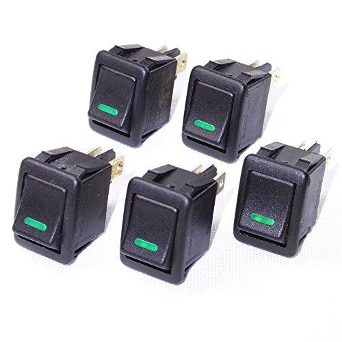 5 Stück Einbau-Wippschalter 2-polig ON-OFF mit Beleuchtung (230VAC), C2.2A2 Signallux, grün