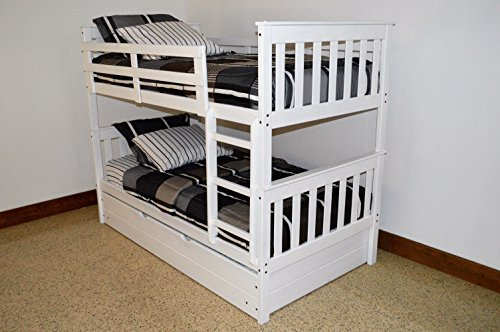 Best BUNK BEDS for Kids with Ladder & Trundle | Twin Over Twin Bed Bunkbeds, USA Amish Made As Quality Matters, Sturdy & Long Lasting Bedroom Furniture for Children, White