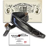 Walker & Williams Super Wide 4' Double Padded Top Grain Black Leather Bass Strap