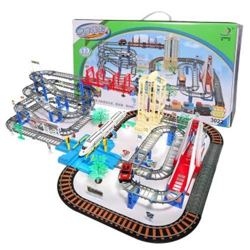 Lihgfw Jewing-Track der Kinder mit hellem Auto-Zug Elektrische Hochgeschwindigkeits-Schiene-Junge-Puzzle-Montage-Spielzeugschiene (Farbbox) (Color : Multi-Colored)