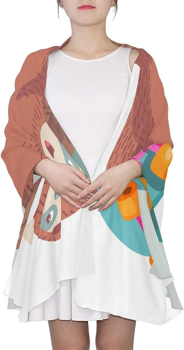 Mens Long Scarf Kawaii Cute Sloth Popular Animal Fashion Scarf For Women Long Wrap Shawl Lightweight Print Scarves Wrap Or Shawl New Scarf
