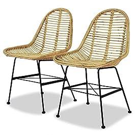 GOTOTOP Lot de 2 chaises de salle à manger en rotin naturel au design ergonomique, 49 x 55,9 x 83,8 cm (L x P x H)