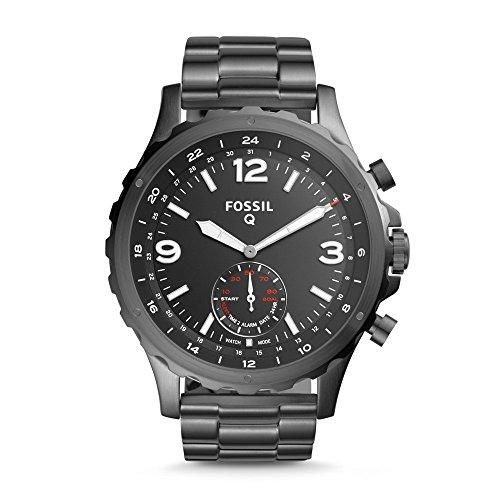 Fossil Hybrid Smartwatch Nate - Reloj con Correa de Acero Inoxidable para Hombres Color: Gris Modelo: FTW1160