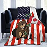 Canadian Flag Beaver Flannel Fleece Throw Blanket Living Room/Bedroom/Sofa Couch Warm Soft Bed Blanket for Kids Adults All Season 50x60 inch