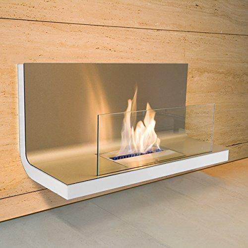 Wall Flame I weiss Edelstahl gebürstet Ethanolkamin für Bioalkohol 1,7 Liter Brennkammer - 536 n