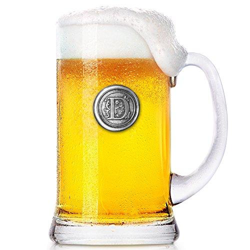 English Pewter Company 1 Pinta Monogram iniziale Boccale di birra in vetro Tankard - Regalo personalizzato con la vostra scelta di iniziale (D) [MON 004]