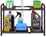 Simple Houseware Under Sink 2 Tier Expandable Shelf Organizer Rack, Bronze (Expand from 15 to 25 inches)