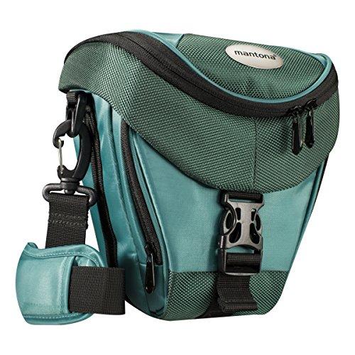 Mantona Colt DSLR Kamera Tasche für Spiegelreflex, SLR, Kompaktkamera, Systemkamera, Schultertasche Umhängetasche mit Platz für Zubehör, wasserdicht, dunkelgrün