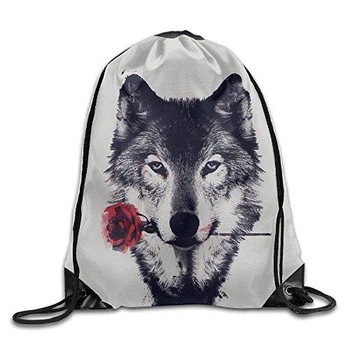 Yuanmeiju Awesome Wolf Rose Gym Mochila con cordón Unisex Portable Sack Bags