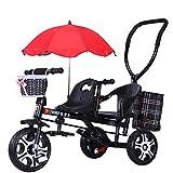Cochecito de bebé, GUO@ Carro de bebé Doble de la Carretilla del Gemelo del Triciclo de niños con el Paraguas