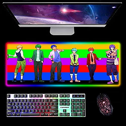Gaming Mouse Pads Kuroko's Basketball RGB Mouse Pad Computer Gaming Anime Led Keyboard Mat 14 Light Modes Backlit Desk Mat 400X900X4Mm