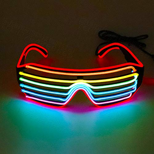 Bestcool LED Brille, LED Sonnenbrille Verstellbare Neon EL Wire Neon Brille mit Kontrollbatterieetui (Batterie Ist Nicht im Lieferumfang Enthalten) für Festivalgeburtstagsfeier Weihnachten Halloween