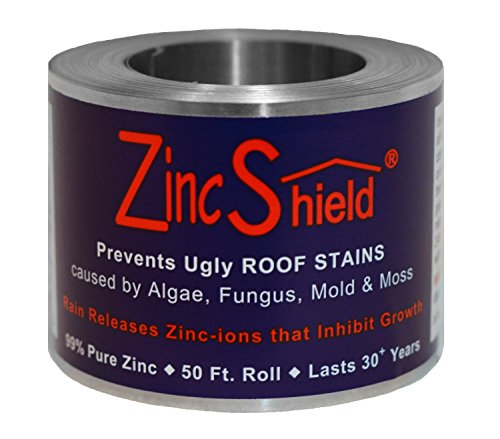 ZincShield + Adhesive Set - Includes (2) x 2.5' 50 Ft. Roll & (2) x No Nail Adhesive Installation Kit to Avoid Ugly Roof Stains from Moss, Algae, Fungus, and Mildew - Made in The USA
