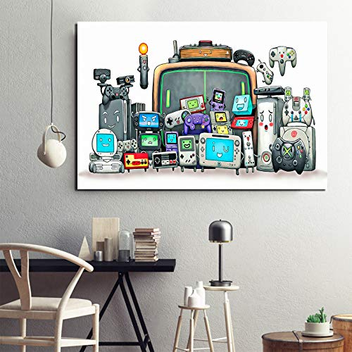 Video Games Controller Canvas Wall Art for Boys Gamer video game controller Console Prints Poster for Gameroom Decorations Canvas Wall Poster Unframed 12x16Inch