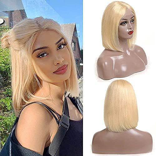 ALI GRACE Pre Plucked Bleached Knots Lace Closure Bob Wig 150% Density 13x4x1 Straight Wigs Human Hair for Black Women 9A Remy Human Hair Wigs with Baby Hair (613Bob14inch)