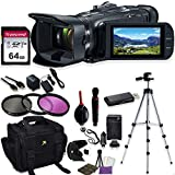 Canon Vixia HF G50 UHD 4K Camcorder with Starter Accessory Kit Including Padded Gadget Case, Filters, Tripod & 64GB High Speed U3 Memory