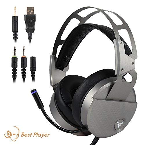 Gaming Headset for PS4 Xbox One, USB Stereo Over Ear Headphones with Crystal Clear Sound, LED Lights & Noise-Canceling Microphone for Laptop, PC, Mac, iPad, Computer, Smartphones (Silver)